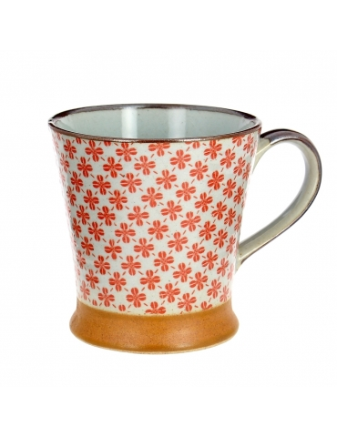 MUG GRES TREFLES ROUGES