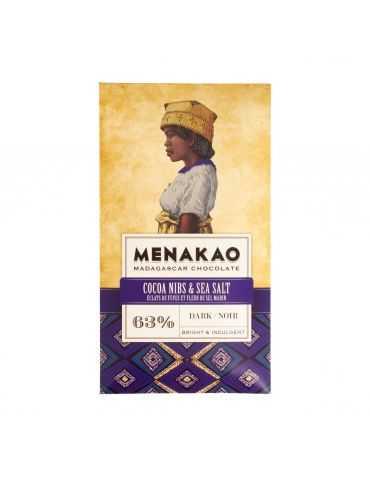 Chocolat noir 63% - Éclat de fèves de cacao et fleur de sel