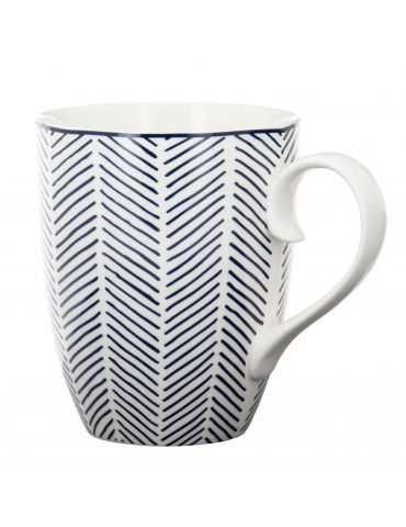 """Mug """"Bleu de Nîmes"""" Herringbone Blanc"""