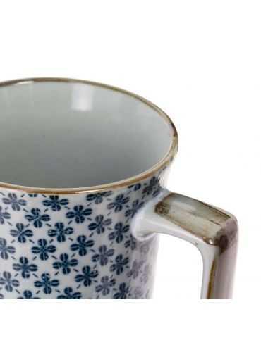 Mug en grès - Trèfles Bleus