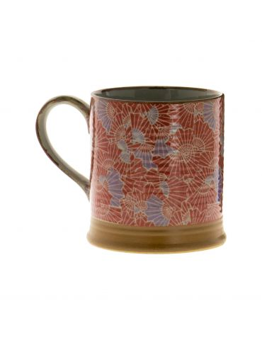 Petit mug en grès - Éventails Rouges